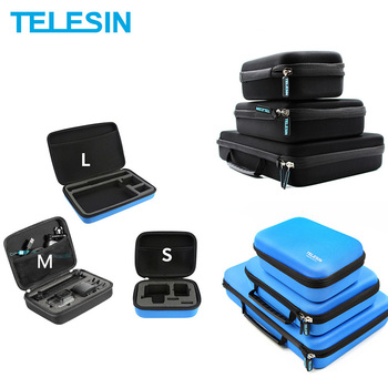 TELESIN Storage Carry Case Protective EVA Box for GoPro Hero 8 7 6 5 4 3  2 SJ4000 5000 for Xiaomi YI 4K Accessories Camera Bag handheld gimbal adapter switch mount plate for gopro 6 5 4 3 3 yi 4k camera for dji osmo for feiyu zhiyun smooth q gimbal