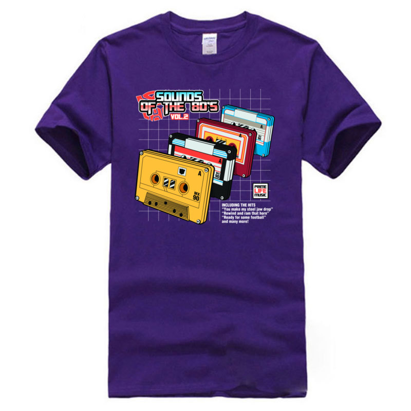 Tops Shirt Clothing Shirt Sounds_ot_the_80s_Vol.2_10013 Summer/Autumn All Cotton Crew Neck Man T Shirts Personalized Discount Sounds_ot_the_80s_Vol.2_10013 purple