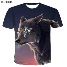 JOH FIERS 2019 Newest Harajuku Wolf 3D Print Cool T-shirt Men/Women Summer Tops Tees T shirt Fashion t shirts S- 6XL