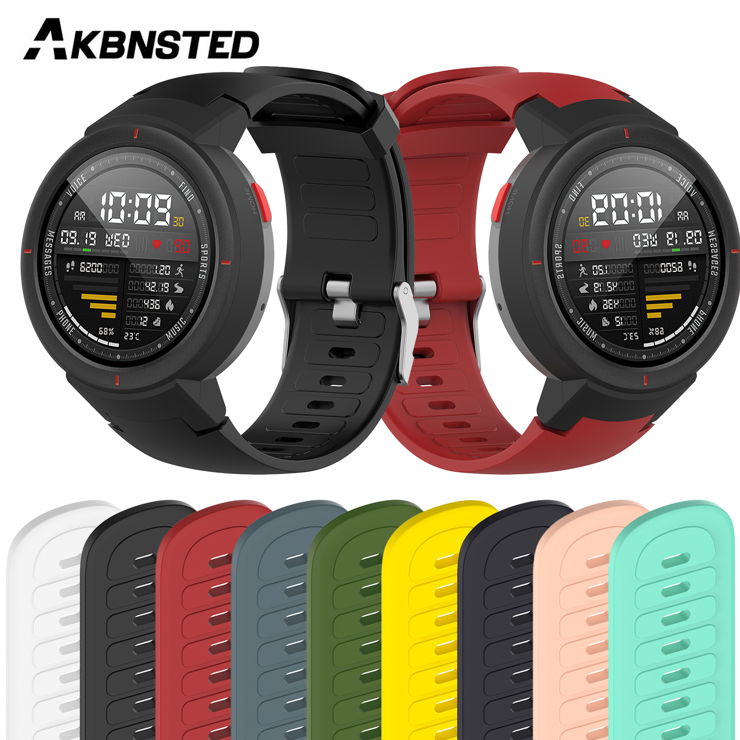 AKBNSTED Soft Silicone Replacement Bracelet Strap For Huami Amazfit Verge Wristband Smart Watch Sport Watchband Accessories