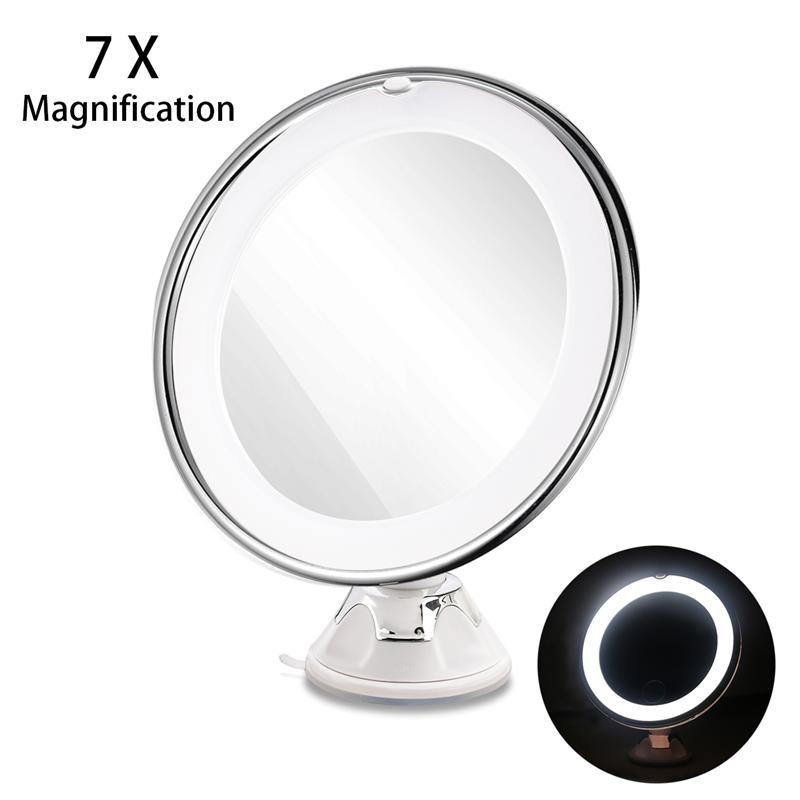 RUIMIO Adjustable 7x Magnification Lighted LED Makeup Mirror Bathroom Vanity Mirror Travel Mirror With Strong Suction Cup