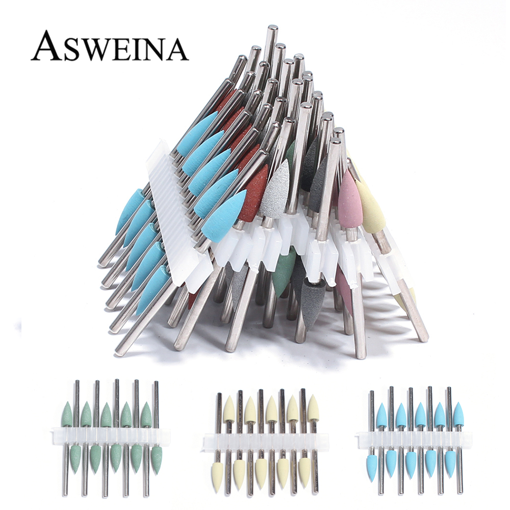 10pc/Set Silicone Nail Drill Bit Frees Bit Nails Rubber Manicure Drills Bit Rotary Electric Milling Cutter Burr Tools