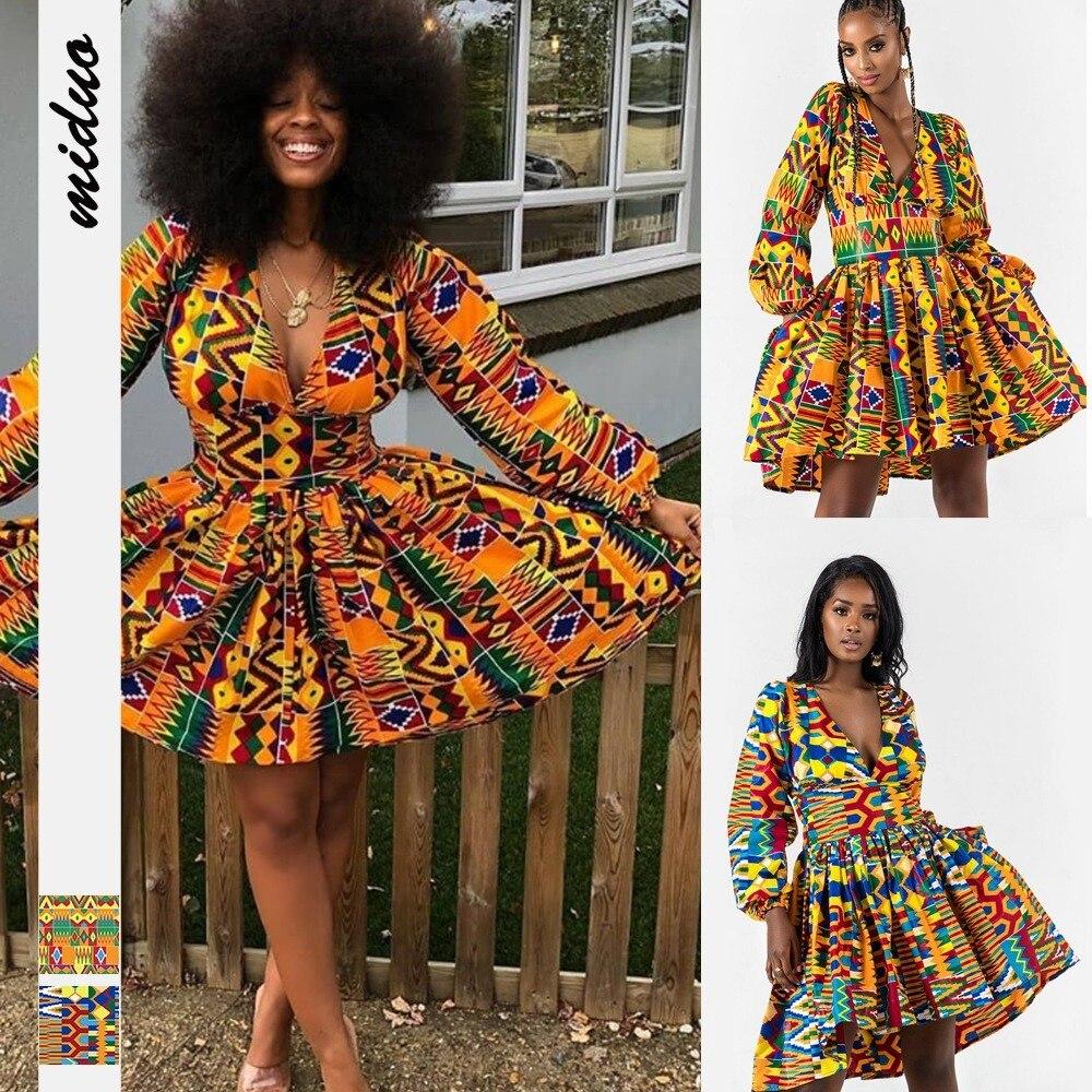 Женская одежда в африканском стиле новинка 2020 с пышными рукавами и V образным вырезом Дашики осенние африканские платья Анкары для женщин платья на шнуровке плюс Африканская одежда    АлиЭкспресс