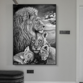 African Wild Lions Family Canvas Art Posters And Prints Black And White Animals Canvas Paintings On the Wall Art Pictures Cuadro african large lions face canvas paintings on the wall art posters and prints animals lions art pictures for living room cuadros