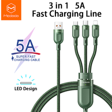 MCDODO 5A Fast Charging Cable Type c Lightning Micro Usb For iphone 11 12 Pro Max Xs 7 8 Samsung Xiaomi Redmi 9 3 in 1 Data Cord