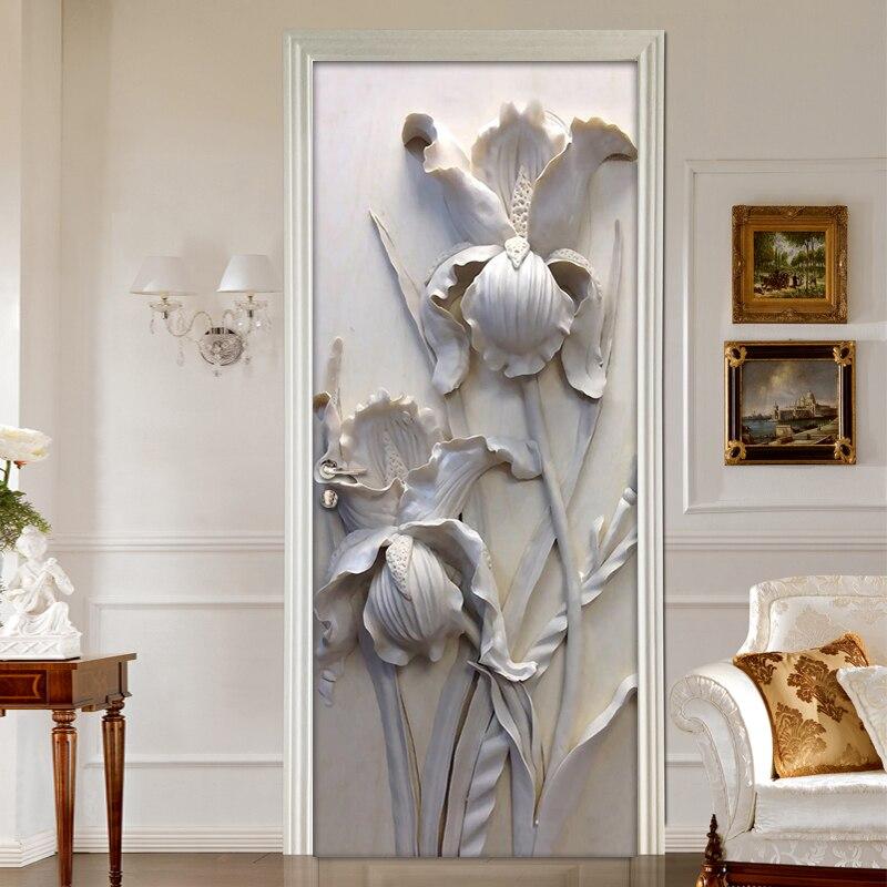 Self-adhesive Removable Door Sticker Wall Decals 3D Stereoscopic Grey Flowers PVC Waterproof Door Mural Art Vinyl Wallpaper Roll