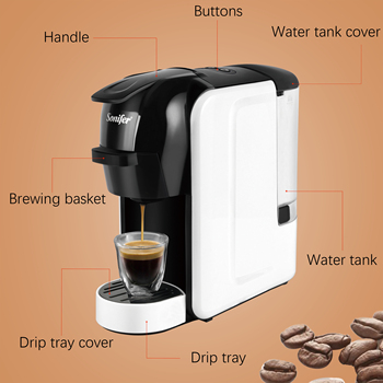 Italian Espresso Electric Coffee Capsule Machine 3 in 1 For Nestle Capsules Kitchen Appliances 19 bar Coffee Machine Sonifer 4