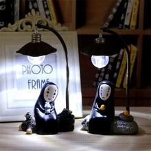 Faceless Man Led Light Miyazaki Animation Spirited Away No Face Man Night Light Lamp Resin Ornaments Craft Kids Birthday Gifts