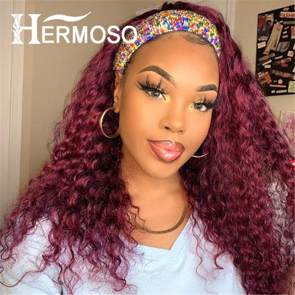 Водная волна лента для волос парики из натуральных волос на кружевной 99J длинный шарф, парики темно-красные волнистые Цветной парики из нату...