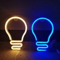 Forma de bombilla de luz de neón LED colorido arco iris de neón pared noche luces de fiesta de vacaciones decoración de fiestas de bodas