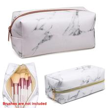 Women Cosmetic Storage Bag Rectangle PU Leather Marble  Portable Fashion Travel Make Up Bags Brushes Organizer Case Kit