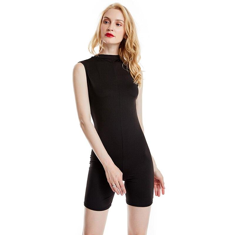Women Bodycon Rompers Ladies Black Slim Playsuit Summer Fitness Workout Playsuit Female Sleeveless Clubwear Short Pants
