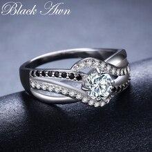 สีดำAWN 2020 ใหม่ 925 เงินสเตอร์ลิงเครื่องประดับอินเทรนด์หมั้นBague Femmeสำหรับผู้หญิงงานแต่งงานแหวนBijoux C047