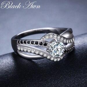 Image 1 - Bijou fin en argent Sterling 2020, auvent noir, tendance, Bague de fiançailles, anneaux de mariage pour femmes, nouvelle collection 925, C047