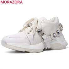 MORAZORA 2020 أحدث حذاء كاجوال امرأة أحذية رياضية الكريستال الدانتيل يصل أحذية من الجلد الحقيقي مريحة أحذية منصة مسطحة امرأة