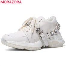 MORAZORA 2020 הכי חדש נעליים יומיומיות אישה סניקרס קריסטל תחרה עד עור אמיתי נעליים נוח שטוח פלטפורמת נעלי אישה