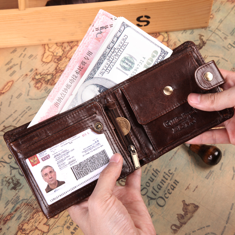 Image 2 - Cobbler Legend Black Cow Genuine Leather Men Wallets Short 100% Top Quality Fashion High Quality Coin Purse 2019 Original BrandWallets   -