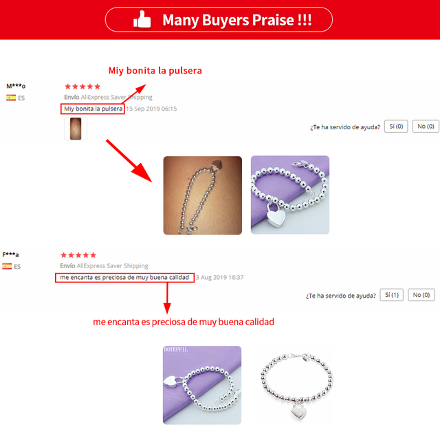 DOTEFFIL 925 Sterling Silver Heart Lock 6mm Beads Chain Bracelets Jewelry Women Top Quality Lovers Bracelets Christmas Gift 6