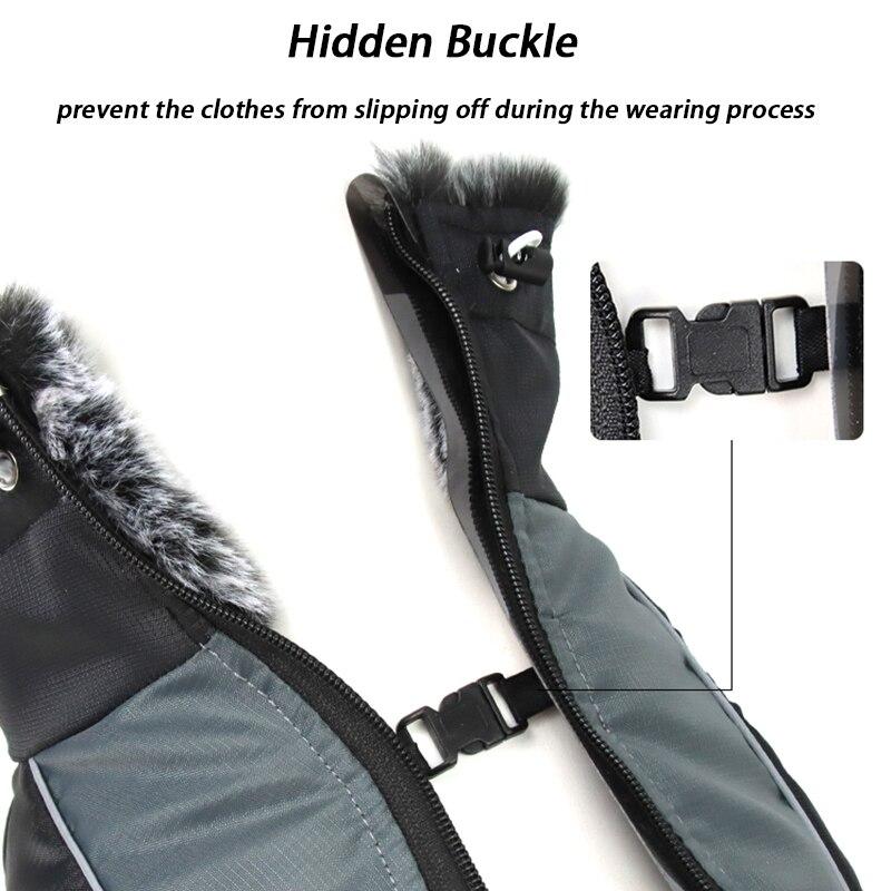 Куртка для больших собак, меховой воротник, зимняя одежда для собак, водонепроницаемое пальто для больших собак со съемной подвязкой, наряд для французского бульдога, Мопса-3