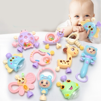 10pcs Montessori Baby Toys Hand Hold Jingle Shaking Bell Kids Crib Mobile Toy Teether Ring Baby Rattles Toys For 0- 12M Newborn недорого