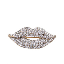 Crystal Red & Silver Rhinestones Lips Brooch Pins Sexy Lips Design Brooch Collar Scarf Coat Decor for Women Girl Jewelry Gift все цены