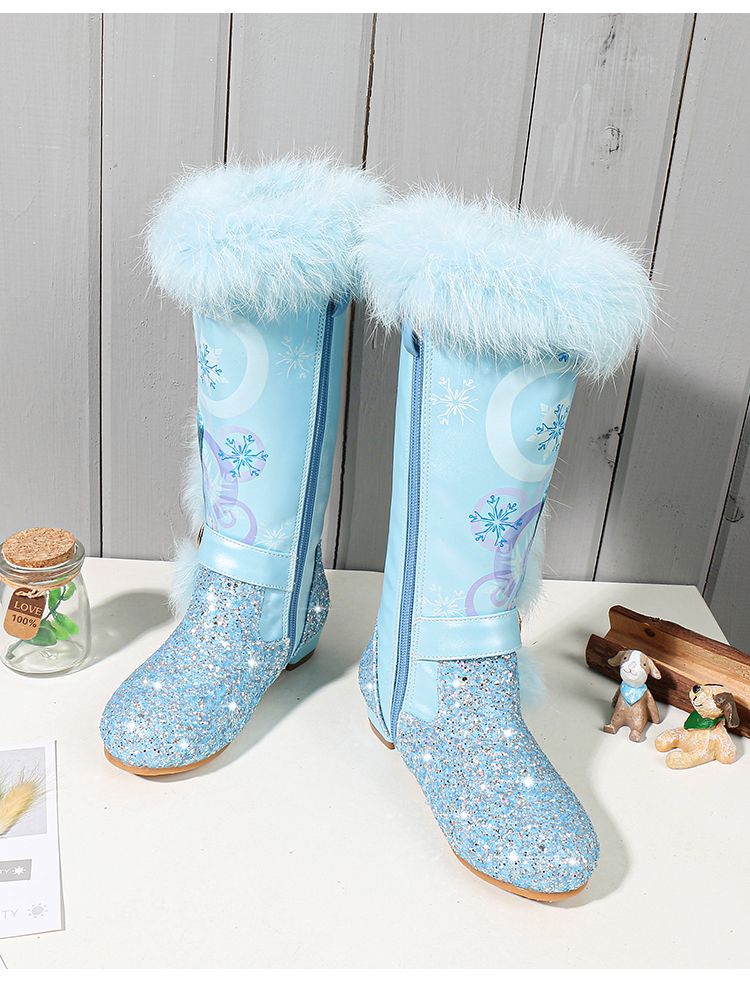 H73b40c470ef9404f87d4091cfac6608av - Elsa princess kids high boots new winter girls boots Brand Children's over the knee boots for girls snow shoes pink blue