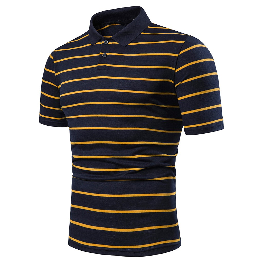 Mens Bussinease Casual Shirt Male Striped Tur-Down Collar  Shirts Short Sleeve Brand Clothing Wholesale Asian Size Mar21