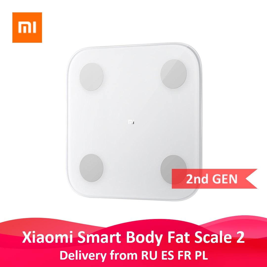 Оригинальные весы Xiaomi Mi Smart Scale 2 для определения жира в теле, Bluetooth, тест на баланс, 13 показателей индекса массы тела и индекса массы тела, свет...