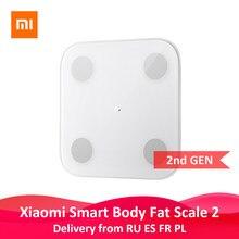 Xiaomi-Balança Mi Original 2 inteligente, teste de equilíbrio, para avaliação de composição de gordura corporal, Bluetooth 13, dados do corpo como IMC, saúde e peso, display LED