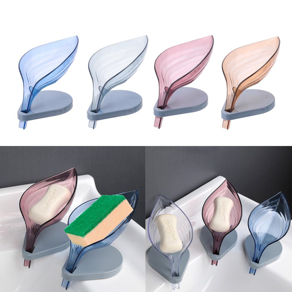 Leaf Shape Soap Cleaning Sponge Holder Drain Box Soap Drying Stand Rack With Suction Cups