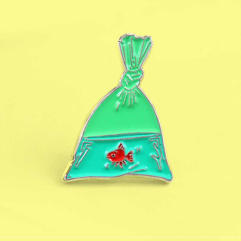 Kartun Hijau Ikan Tas Goldfish Bros Enamel Pin Merah Ikan Koi Ikan Ikan Tas Pin Gaun Kepribadian Lencana untuk Wanita anak-anak Hadiah