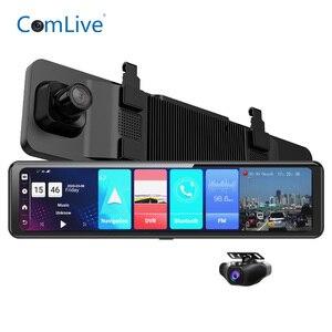 12 Polegada tela sensível ao toque android 8.1 4g wifi gps carro dvr câmera de vídeo traço cam frente e espelho retrovisor gravador wdr visão noturna