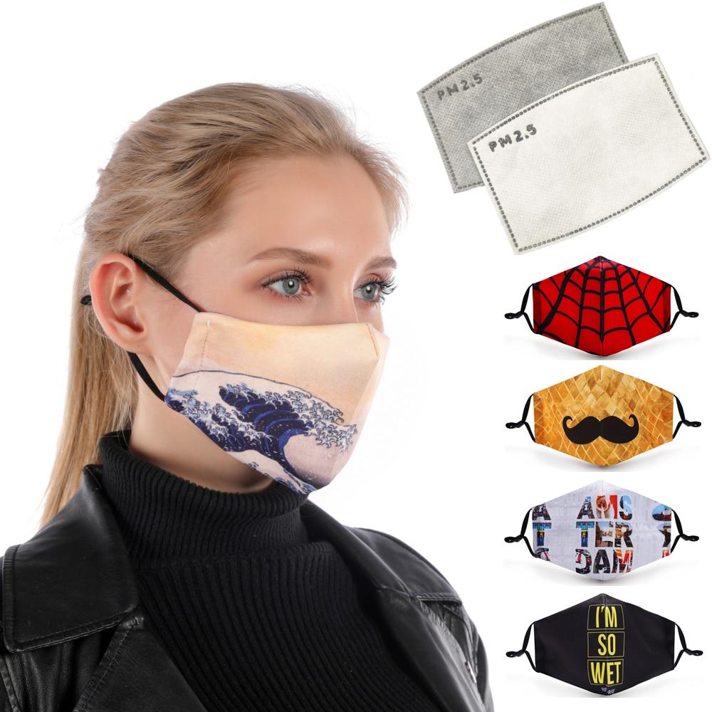 Zohra печатная маска для рта многоразовая Защитная PM2.5 фильтровальная бумага маска против пыли маска для лица Защита от бактерий маска от гриппа|Женские маски|Аксессуары для одежды - AliExpress