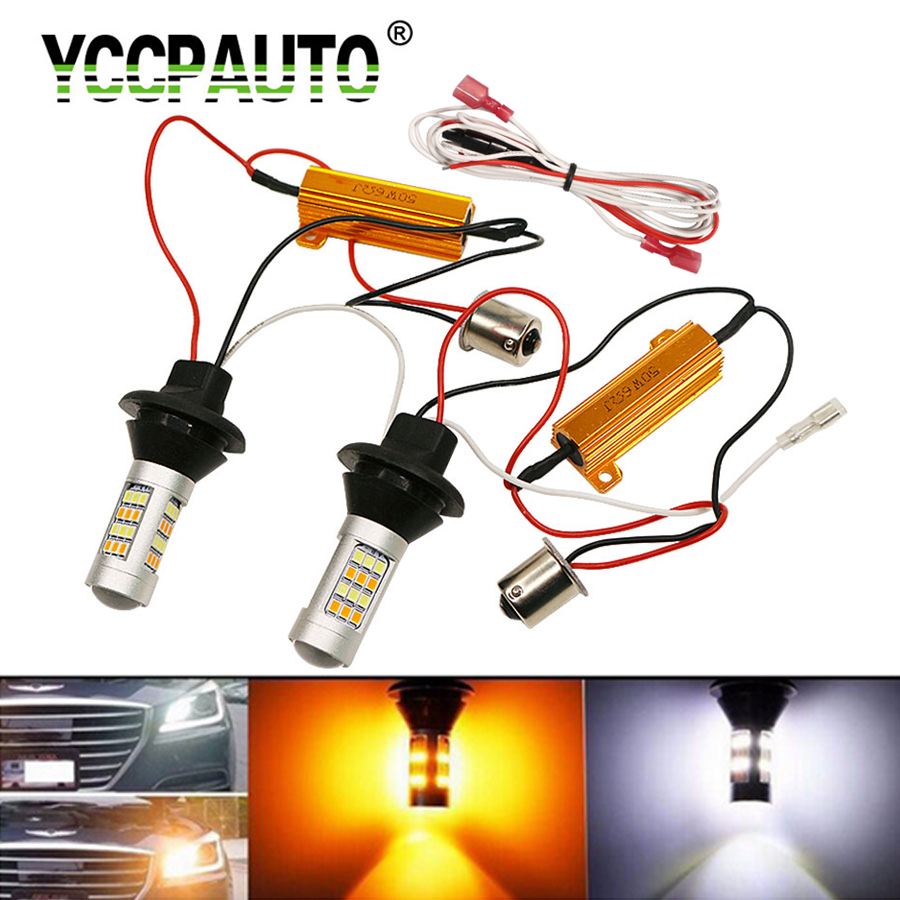 YCCPAUTO 2Pcs <font><b>T20</b></font> <font><b>W21W</b></font> P21W PY21W LED Turn Signal Light DRL Canbus No Error 1157 1156 Ba15s Dual Color LED Car light White Amber image