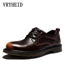 VRYHEID mężczyźni skórzane buty Casual 2020 nowe oryginalne skórzane buty mężczyźni Oxford moda sznurowana sukienka buty praca na zewnątrz buty Sapatos tanie tanio Prawdziwej skóry Stałe Dla dorosłych 4998011 Okrągły nosek RUBBER Lace-up Krowa podział Pasuje prawda na wymiar weź swój normalny rozmiar