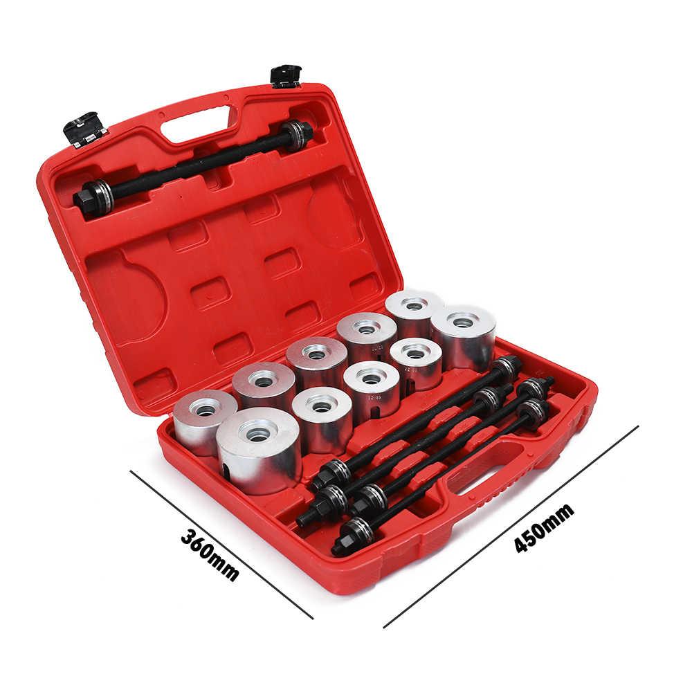 Conjunto de buchas de carro de liga de alumínio, 27 peças, ferramentas de desmontagem, conjuntos de ferro, extrator de manga de borracha, kit de manga de puxar