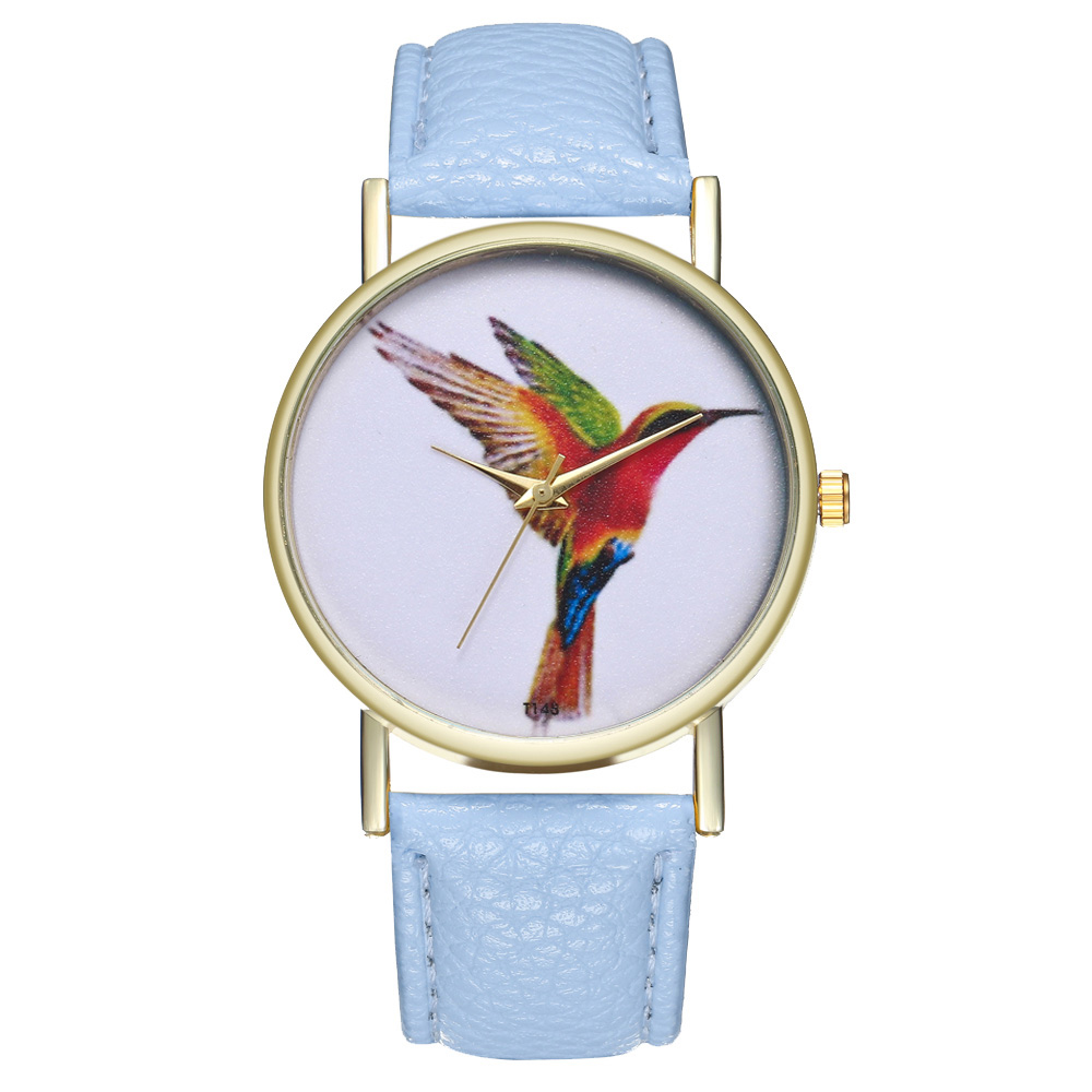 Fashion Quartz Watches Students Casual Watches Korean Style Printed Couple Watches With Leather Watch Band Round Dial  L