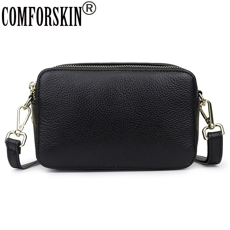 COMFORSKIN คุณภาพสูง 100% Cowhide กระเป๋าถือหนังคู่ซิป Messenger กระเป๋าผู้หญิง Cross body Bag 2019-ใน กระเป๋าหูหิ้วด้านบน จาก สัมภาระและกระเป๋า บน AliExpress - 11.11_สิบเอ็ด สิบเอ็ดวันคนโสด 1