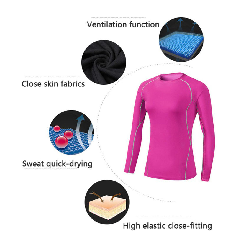 Hot Women Fitness Tight Yoga Tshirt Female Quick Dry Fit Training Sport Running Sportswear Long Sleeve Gym Yoga Shirt XXL in Yoga Shirts from Sports Entertainment
