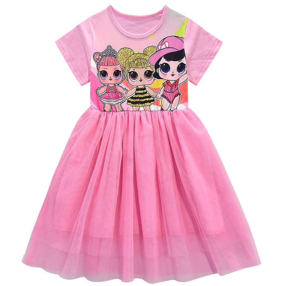 Girls Lol Dress Toddler Baby Lol Doll Clothes Kids Cartoon Print Princess Dress Children Short Sleeve Birthday Vestido for Girl 6
