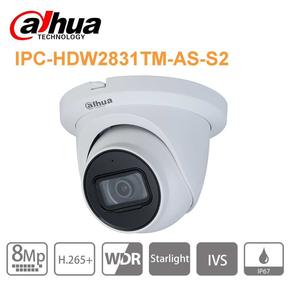 Original Dahua  8MP IP Camera Cctv Security Camera Outdoor Indoor IPC-HDW2831TM-AS(S2) IPC IR 30m WDR H.265 MIC IVS Poe Camera