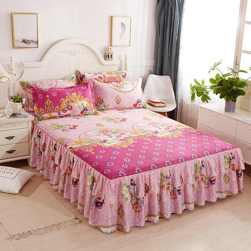 Yaapeet Floral Fitted Sheet Cover Bedspread Bedroom Bed Cover Skirt Housewarming Bedcover Single Full Queen Bedspread Bed Sheets
