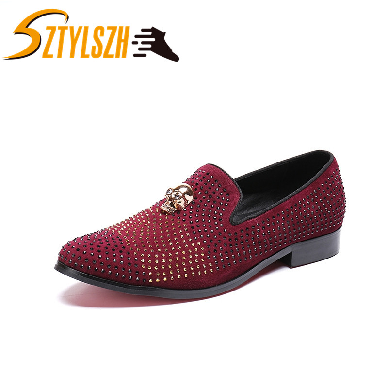 Luxury Fashion Men Rhinestone Loafers Shoes Man Suede Leather Dress Shoes Men s Flats Driving Shoes
