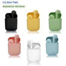 Mini oryginalne i12 TWS bezprzewodowe słuchawki Bluetooth 5 0 słuchawka hi-fi słuchawki Stereo bezprzewodowe słuchawki douszne pk i7s tws i9s i11 i20 i30 tanie tanio WEIYU 10mW Inne NONE Etui do ładowania Do 32 Ω wireless 50mm Z mikrofonem 10000 - 20000Hz 32ΩΩ Sport Uszczelnione Ucho