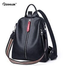 ZOOLER 2019 NEW Black Travel Bag Real Leather Backpack Women Genuine Backpacks Fashion Luxury Bags Girls#HS209