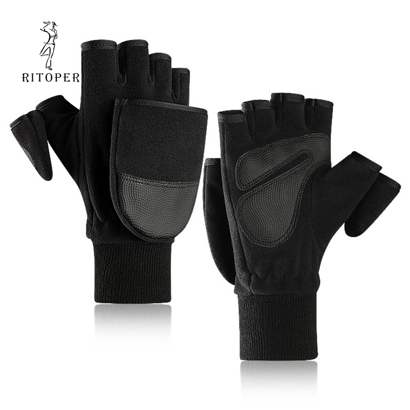 RITOPER Winter Flip Half Gloves Men's Fleece & PU Leather Gloves For Women Half-finger Gloves Outdoor Cycling Photography New