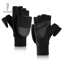 RITOPER Winter Flip Half Gloves Mens Fleece & PU Leather for Women Half-finger Outdoor Cycling Photography New