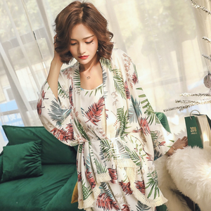 Image 3 - 2019 Spring Autumn Long Sleeve Cotton Pajamas Set 3 Pieces Set Women Sleepwear Sexy Nightwear For Women Sleeping Set M XL