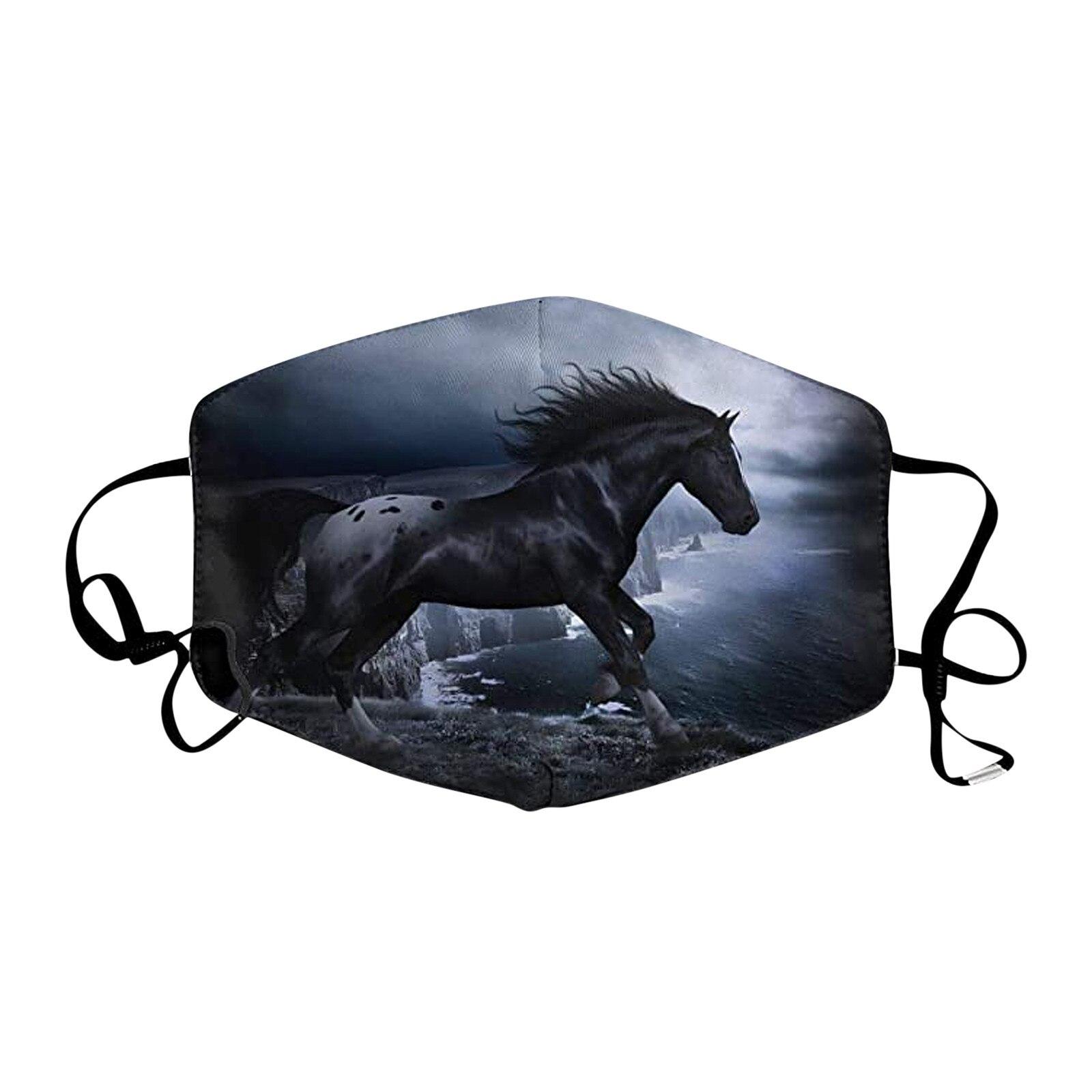 Mondkapjes-mascarilla protectora con estampado de caballo, lavable y reutilizable, con elásticos ajustables
