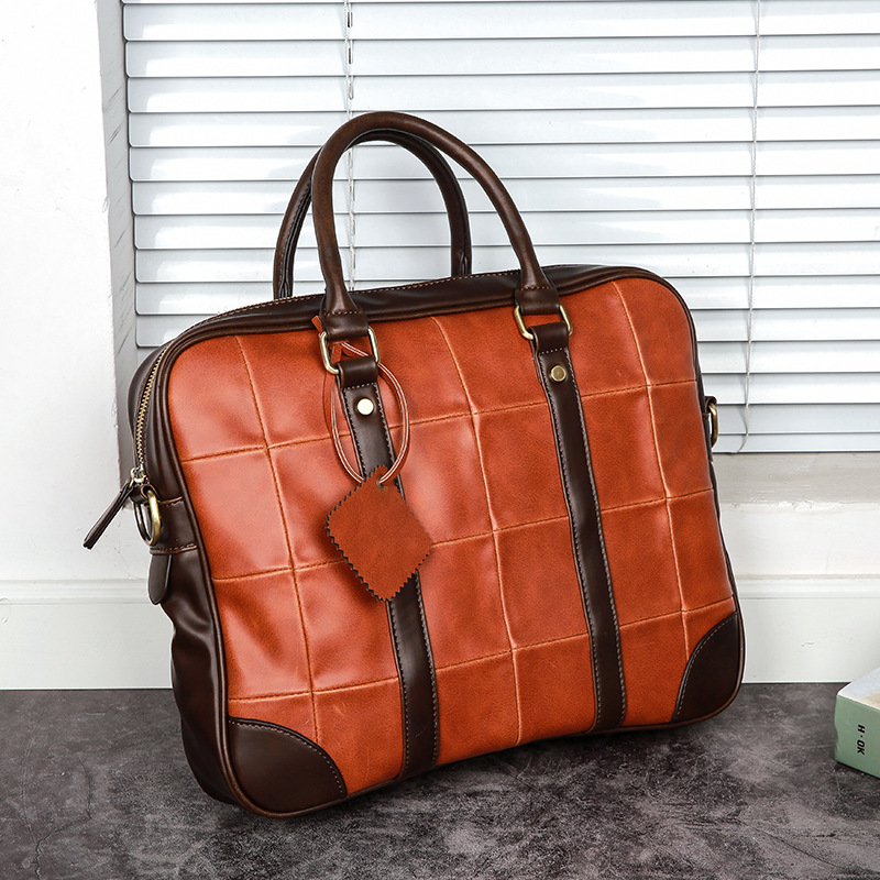 Vintage Fashion Block Color Horizontal Handbag Big 14